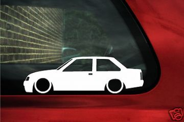 2x LOW 2 door saloon/ coupe, Vauxhall Nova / Opel Corsa A outline, silhouette stickers, Decals